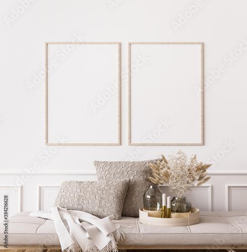 Fototapeta Frame mockup in contemporary living room design, two vertical frames on white wall background obraz