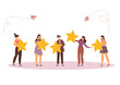Different people give a review rating and feedback, Support for business satisfaction vector.
