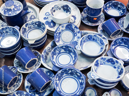 Old porcelain dishes for sale at a flea market in the old city of Jaffa, Tel Avi Wallpaper Mural
