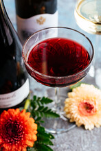 Red And White Wine On Vintage ...
