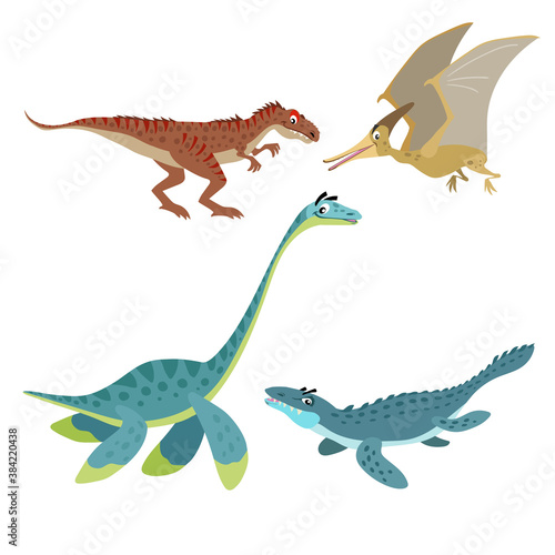 Fotografía Cartoon dinosaurs set