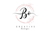 Handwritten BO B O Letter Logo With Sparkling Circles With Pink Glitter.