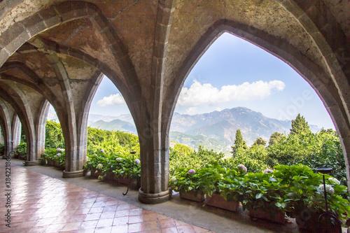The Cloister of Villa Cimbrone in Ravello, Italy Fotobehang