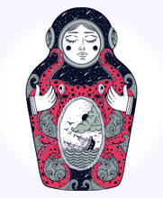 The Drawing Is Done In Stylization Of A Nesting Doll. The Matrioshka Doll In A Diving-dress Has Octopus On Her Body.Octopus Is Holding A Sinking Ship In His Tentacles. Boho, Tattoo Art, Poster Design.