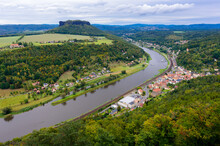 View From The Fortress Königsstein To The Saxon Switzerland And The River Elbe. Extension Of A 12th Century Castle To A Fortress Around 1589 And 1591/97 - Saxony Germany