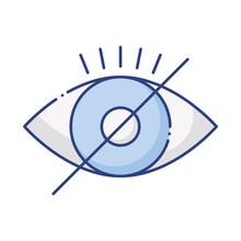 Blind Eye With Denied Symbol Flat Style Icon