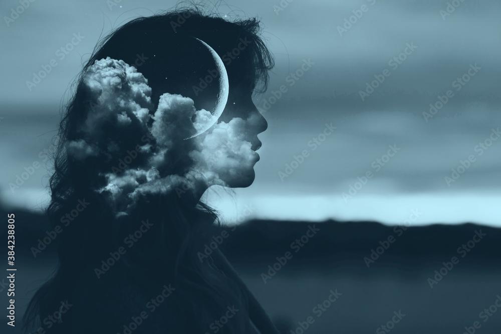 Fototapeta Beautiful woman profile silhouette portrait with moon in her head