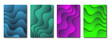 Set of cover templates in papercut style. Wavy dark gradient shapes with shadow. Background for use on posters, banners, invitations, advertising brochures. Vector stock illustration