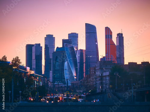 Moscow City International Business Centre and traffic jam in the evening Fototapete