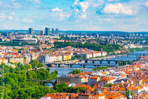 Prague skyline with Vltava bridges Wallpaper Mural