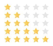 Yellow Stars Rating. Feedback Evaluation In Flat Design. Rank Quality. Review Stars Symbol. Isolated Top Rate Concept. Review Rate Icons On White Background. Vector EPS 10.