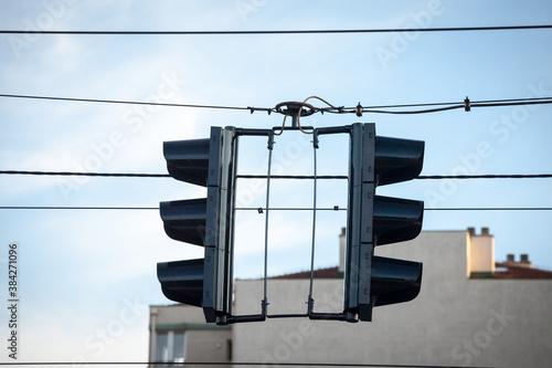 Traffic light abiding by European standard regulations taken at a crossroad, bra Wallpaper Mural