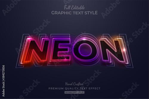 Gradient Neon Editable Text Style Effect Premium Wallpaper Mural