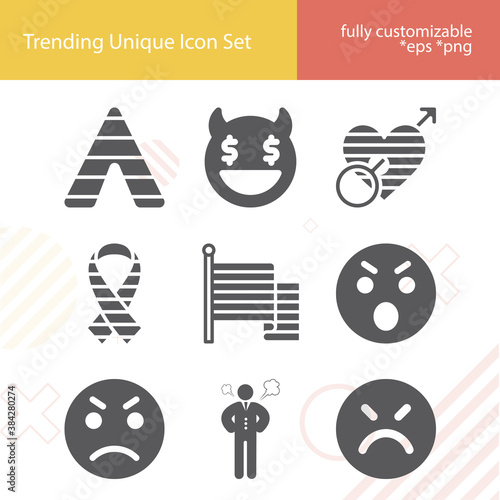Fotografering Simple set of deadly sin related filled icons.