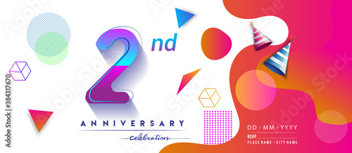 Tela 2nd years anniversary logo, vector design birthday celebration with colorful geometric background and circles shape