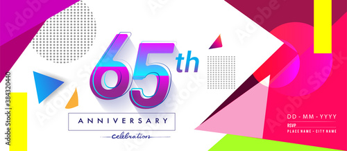 65th years anniversary logo, vector design birthday celebration with colorful geometric background and circles shape Fototapete