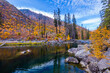 Transparent river in the mountains, amazing autumn. Wenatchee river, HWY-2, USA