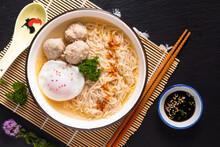Asian Food Concept Egg Noodles...