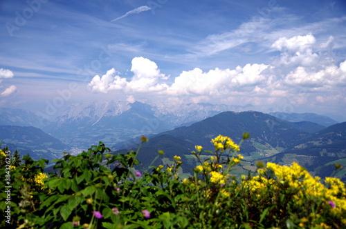 Cuadros en Lienzo Blick in eine imposante Bergwelt unter schönem Wolkenhimmel mit unscharfen Blume