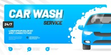 Vector Layout Design For Car Wash Service. Adapt To Billboard, Flyer, Or Banner.