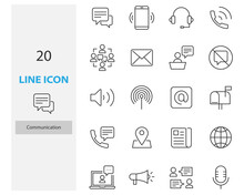 Set Of Communication Thin Line Icons, Contact, Social, Email