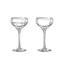 Empty And Full Coupe Champagne Glass Vector Drawing Isolated. Hand Drawn Illustration Black Line On White, Alcohol Beverage Glassware Doodle