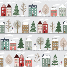 Christmas Vector Repeat Pattern With Snowy Street