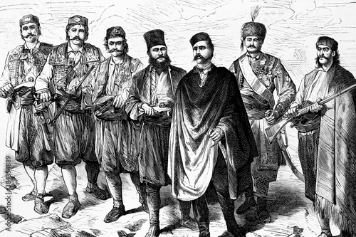 Photographie Herzegovina uprising, Mihajlo MIco Ljubibratic, main leader of the insurgents and his staff