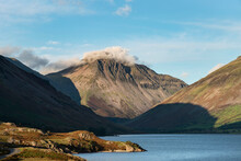 Beautiful Late Summer Landscape Image Of Wasdale Valley In Lake District, Looking Towards Scafell Pike, Great Gable And Kirk Fell Mountain Range