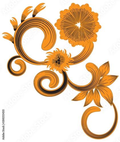 Fotografia, Obraz Swirl and Curl Floral Decorative Ornament