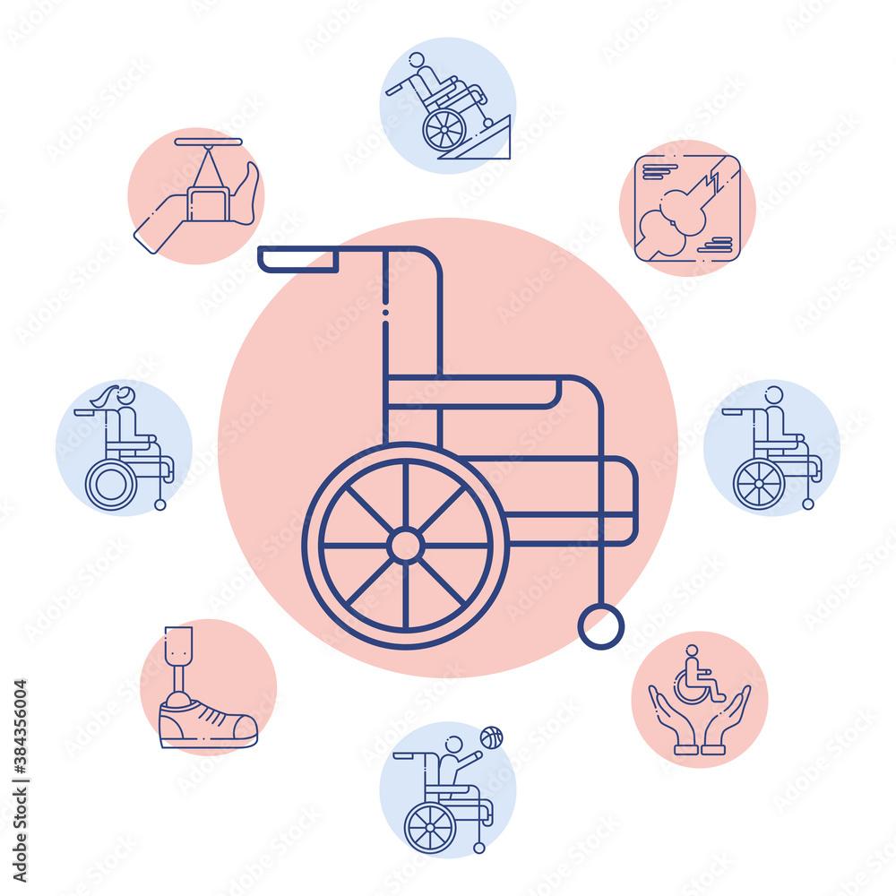 Fototapeta wheelchair with bundle of disabilities set icons