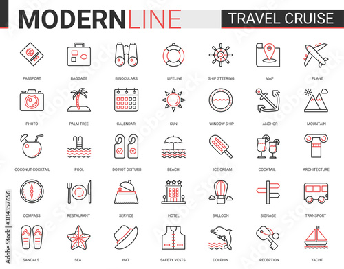 Travel cruise thin red black line icon vector illustration set. Outline tourism mobile app symbols of traveling transport, hotel service for tourists, sea summer beach party items editable stroke Fototapete