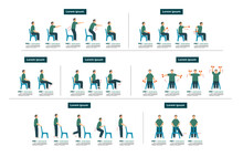 Old Man Sit On Chair Exercise Step Cartoon Set