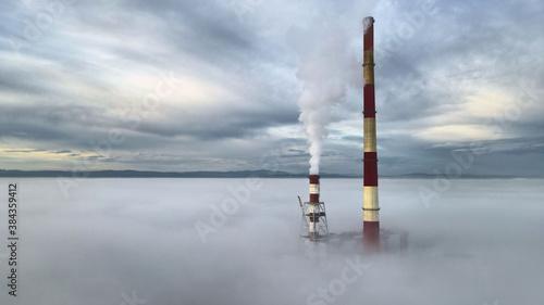 Fototapeta Sezon grzewczy ,zima, mgła, elektrownia,  obraz