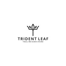 Illustration Abstract Trident With Nature Leaf Sign Logo Design Template Icon