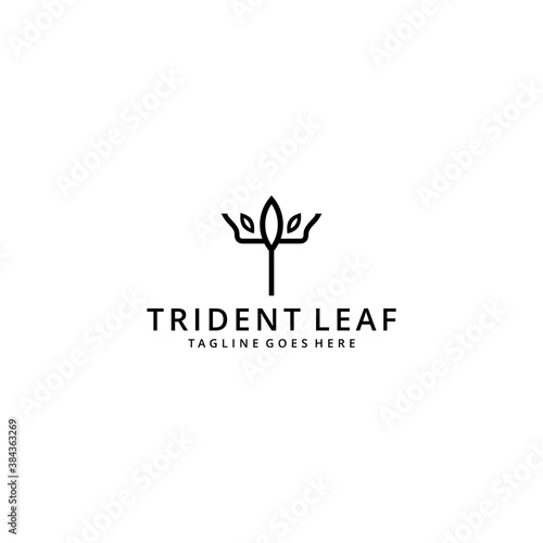 Obraz na plátně Illustration abstract trident with nature leaf sign logo design template icon
