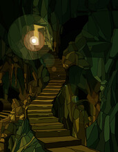 Cartoon Dungeon With Stone Stairs In Green Lighting