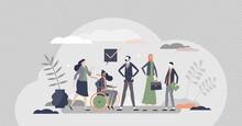 HR Diversity As Various Recruitment Candidates Queue Tiny Persons Concept