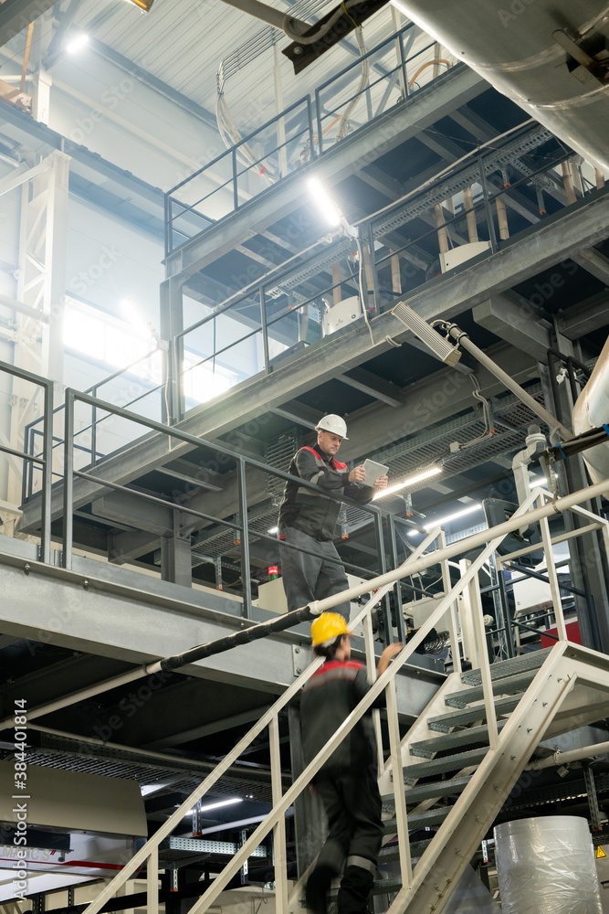 Fototapeta Foreman with tablet bending over staircase where female worker moving upwards