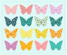 Set Of Patchwork Butterflies. ...