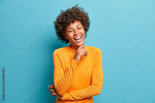 Vászonkép Portrait of glad young Afro American woman laughs happily keeps hand on chin exp