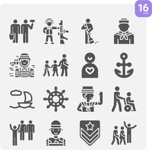 Simple Set Of Military Man Related Filled Icons.