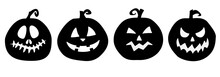 Lantern Silhouette Set. Black Jack-o-lantern Set Vector. Isolated Lanterns.