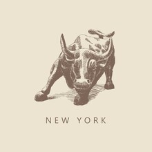 Sketch Bull From Wall Street, New York, Hand-drawn.