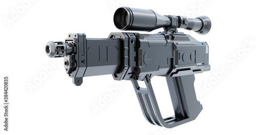 3d Imaginary futuristic semi automatic hand gun pistol weapon
