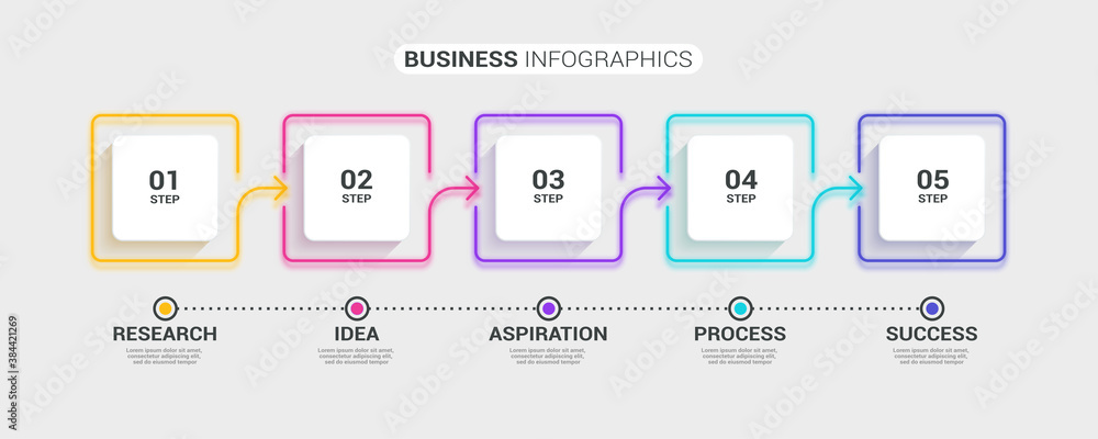 Fototapeta Neon abstract 3D thin line infographic template with 5 steps. Modern business concept infographics with options for brochure, diagram, workflow, timeline. Vector EPS 10