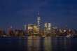New York Skyline after sunset at night summer Manhattan NYC, world trade center, view from Jersey City