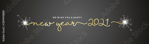 Fotografía We wish you Happy New Year 2021 handwritten tipography sparkle firework gold bla