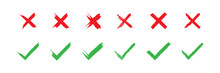 Check And Cross Mark Brush Icon Big Set. X Grunge Concept Symbol. Yes Sign In Vector Flat