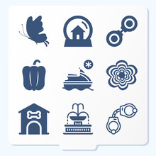 Simple Set Of 9 Icons Related To Spray